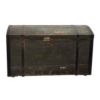 Early 20th Century Old German Wooden Trunk For Sale