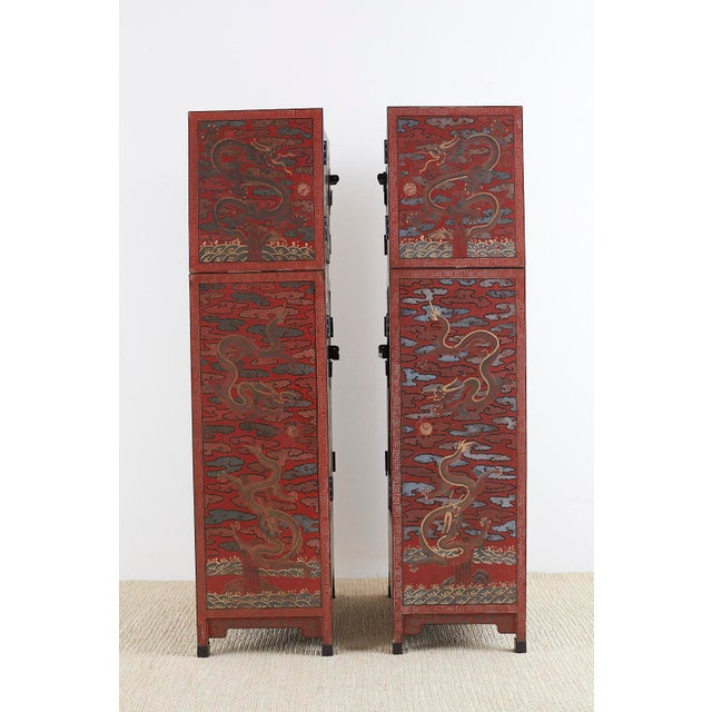 Early 20th Century Chinese Polychrome Decorated Compound Dragon Cabinets - a Pair For Sale - Image 5 of 13