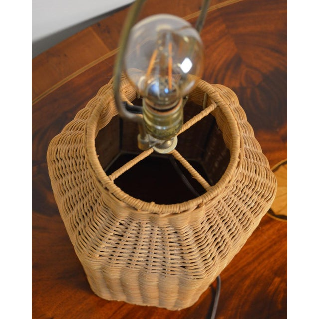 Vintage Wicker Lamp and Shade For Sale In Greenville, SC - Image 6 of 9
