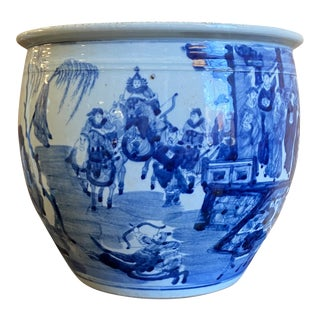 Classic Blue and White Round Planter For Sale