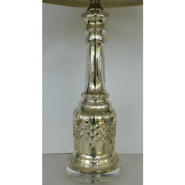 Modern Mercury Glass Table Lamps With Lucite Bases & Finials-A Pair For Sale - Image 3 of 11