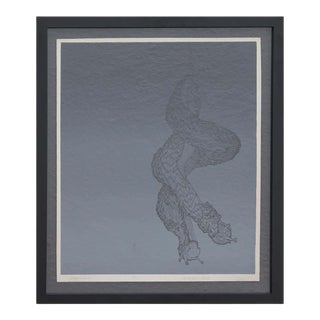 """1990s """"Ghost Riders"""" Abstract Grey Toned Intertwined Snail Screen Print 9/15 by Jane Danko, Framed For Sale"""