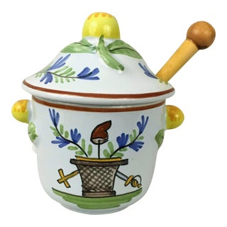 20th Century French Maille Hand-Painted Porcelain Mustard Pot For Sale