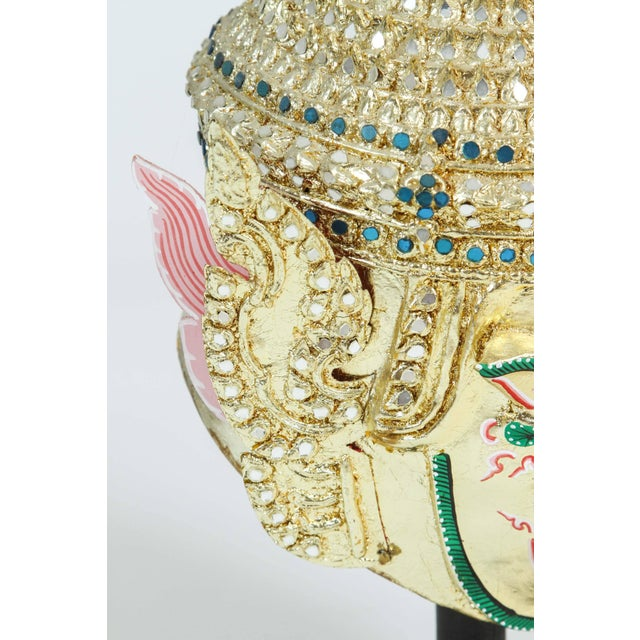 Mid 20th Century Gilt Thai Demon Mask Dance Headdress Crown For Sale - Image 5 of 9
