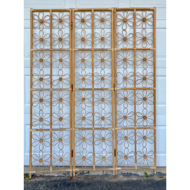 Mid 20th Century Vintage Bohemian Rattan Flower Room Divider For Sale - Image 5 of 5