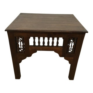 Atlas Cedar Wood Moroccan Wooden Side Table With Syrian-Style Carving For Sale