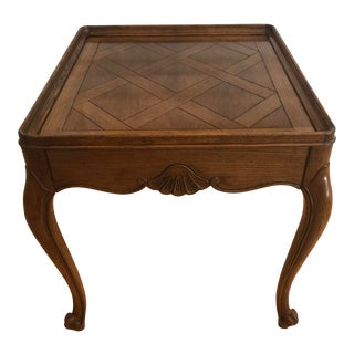 Baker Furniture Parquet Top French Accent Table For Sale