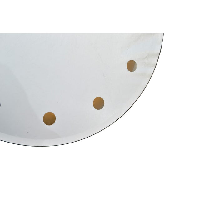 Mid-Century Modern Venetian Round Dotted Glass Mirror Backlit - Image 5 of 6