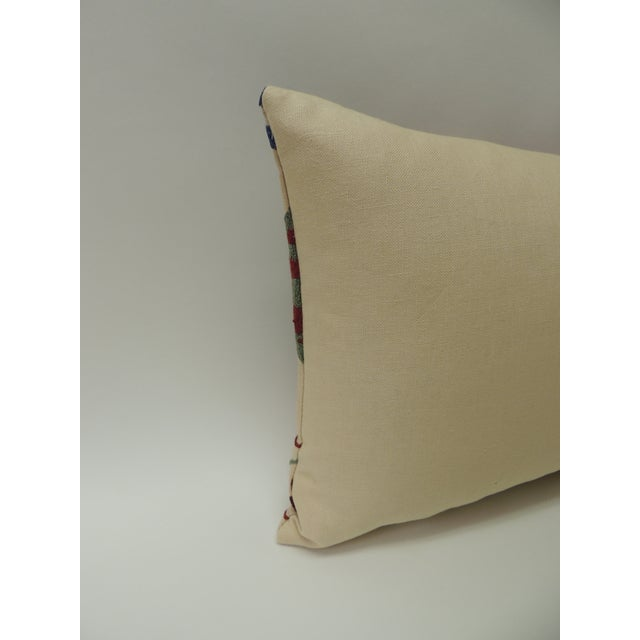 """Vintage Colorful Floral Embroidery """"Suzani"""" Decorative Lumbar Pillow For Sale In Miami - Image 6 of 7"""
