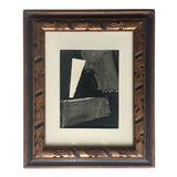 Image of Abstract Painting Collage Black and Grey For Sale