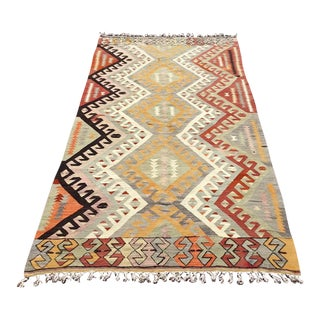 Vintage Pale Turkish Kilim Rug For Sale