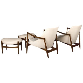 Pair of Ib Kofod-Larsen Elizabeth Chairs and Ottomans, by Christensen or Larsen