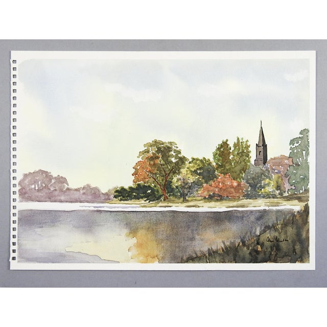 Lakeside Landscape Watercolor Painting For Sale - Image 4 of 4