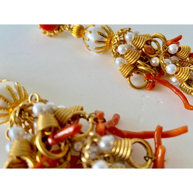 Vintage Pearl and Coral Chandelier Statement Earrings For Sale - Image 11 of 13