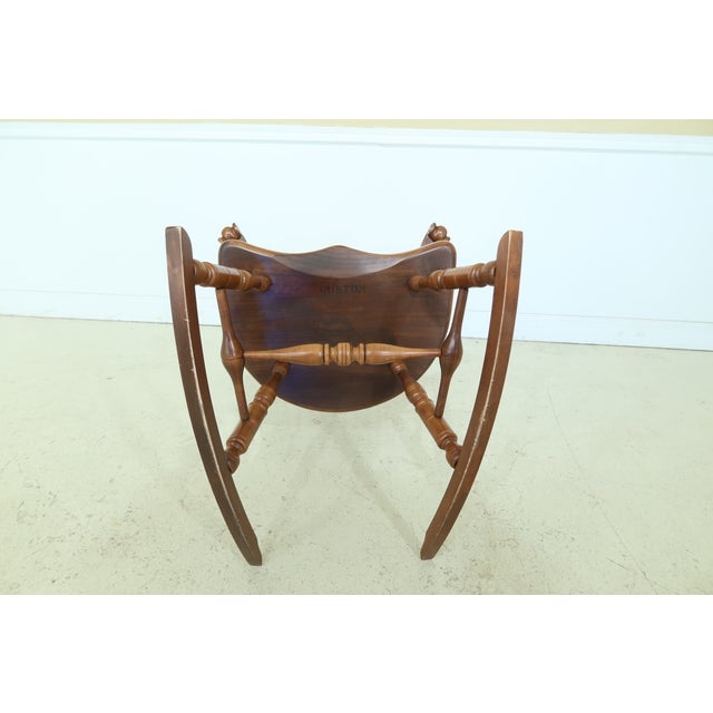 Brown Frederick Duckloe Cherry Fan Back Windsor Rocking Chair For Sale - Image 8 of 10