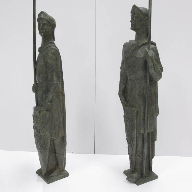 French Life-Size Bronze Statues Sculpture Middle Ages Knight in Armor, a Pair - Image 4 of 11