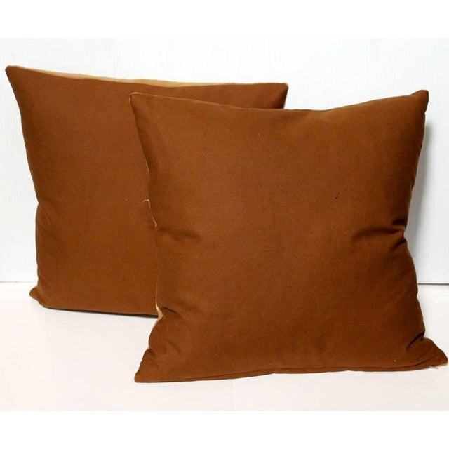 Adirondack Pair of 19th Century Horse Blanket Pillows For Sale - Image 3 of 5
