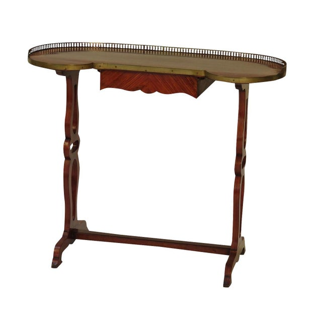 Louis XVI style kingwood French writing table with a brass gallery