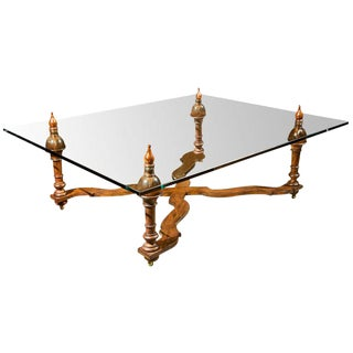 So.. 60's Glass Top Coffee Table For Sale