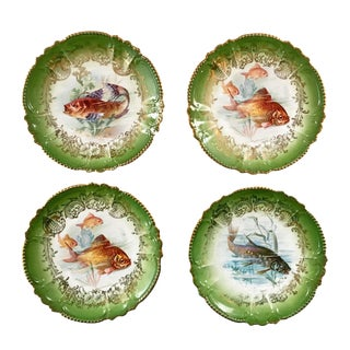 Antique Royal Bavarian Fish Plates Set of Four For Sale