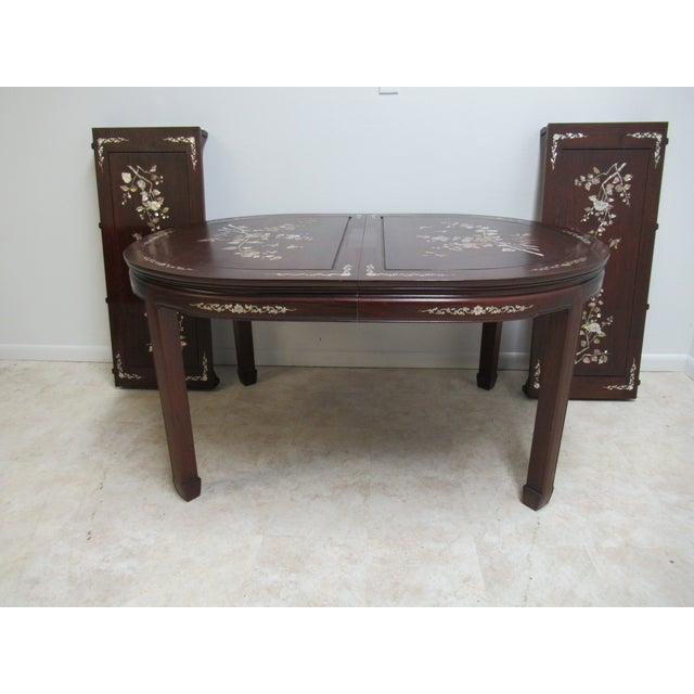 Vintage Rosewood Chinese Chippendale Mother of Pearl Dining Room Banquet Table For Sale - Image 11 of 11
