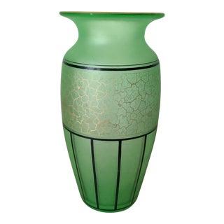 Monumental Austrian Uranium Glass Vase