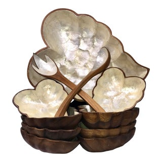 Vintage Mid Century Hand Carved Wood & Shell Large Serving Set- 11 Pieces For Sale