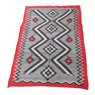 Large Antique Navajo Blanket Rug Wall Hanging 5x8 For Sale