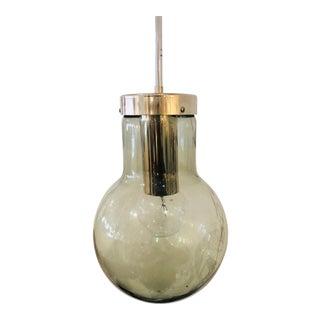 1960s Mid-Century Modern Smokey Glass and Chrome Pendant Light For Sale