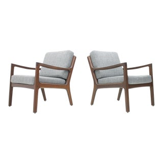 Pair of Scandinavian Easy Chairs by Ole Wanscher For Sale