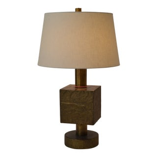 Contemporary Arteriors Home Gold Chunky Wood Block Lamp For Sale