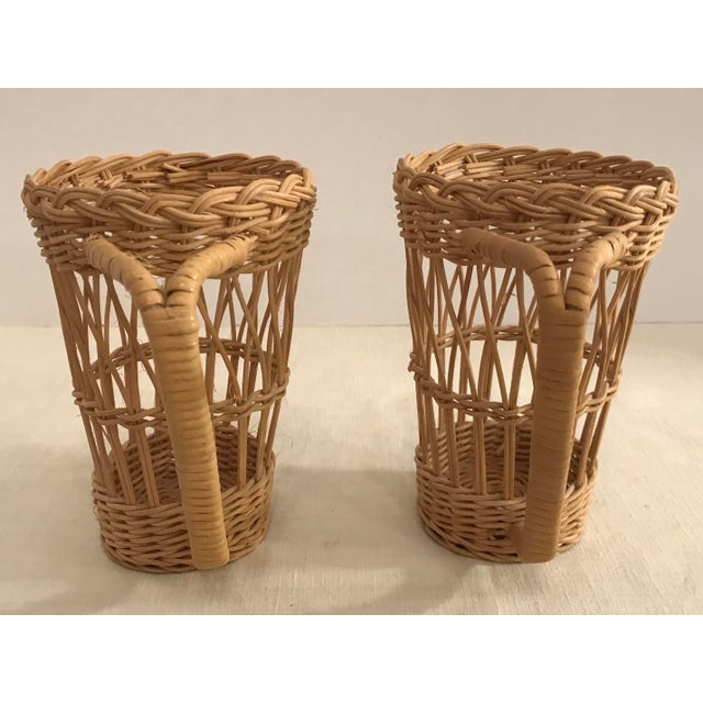 Mid 20th Century Vintage Wicker Handled Glass Holders - A Pair For Sale - Image 5 of 8