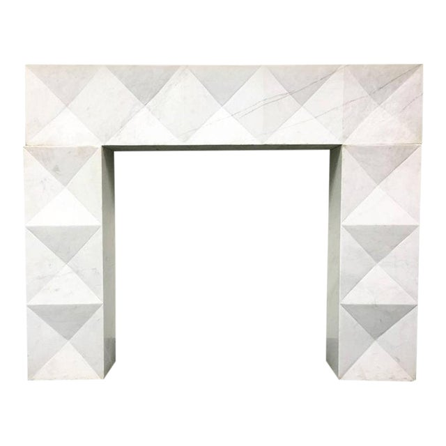 1960s Brutalist Style Mantel in Carrara Marble in Style of De Coene Frères For Sale