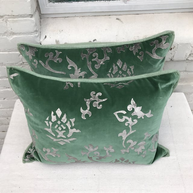 Silver Stenciled Green Velvet Pillows - A Pair - Image 5 of 7