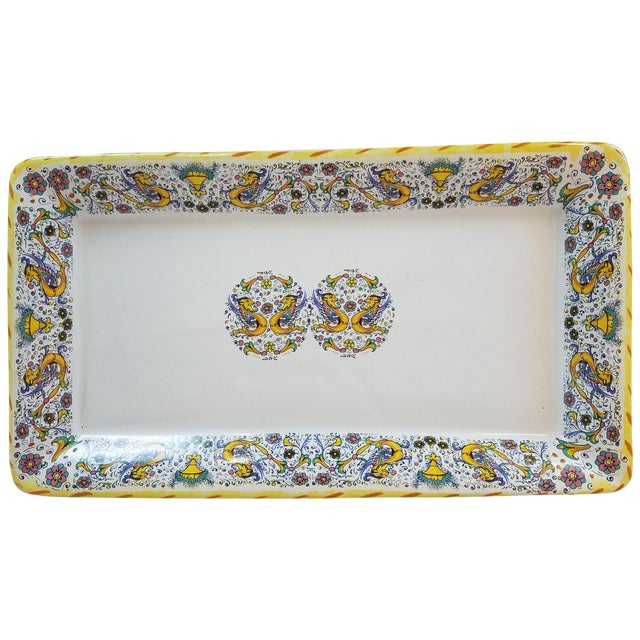 Vintage Italian Yellow and Blue Platter - Image 1 of 5