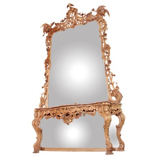 GEORGE III IRISH ROCOCO STYLE CARVED PINE PIER MIRROR AND MATCHING CONSOLE For Sale