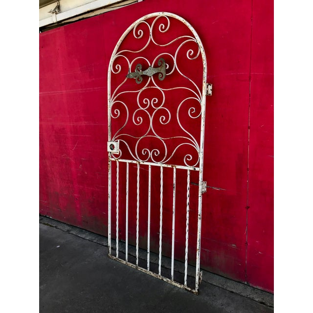 1940s Shabby Chic Rusty White Arched Wrought Iron Garden Fence For Sale - Image 11 of 11