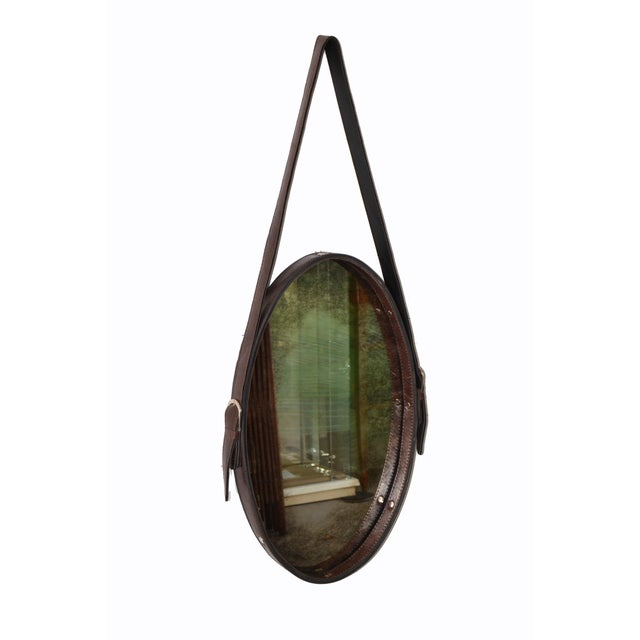 1950s Jacques Adnet Style 1950s Hand-Crafted Brown Leather & Antique Glass Wall Mirror - a Pair For Sale - Image 5 of 13