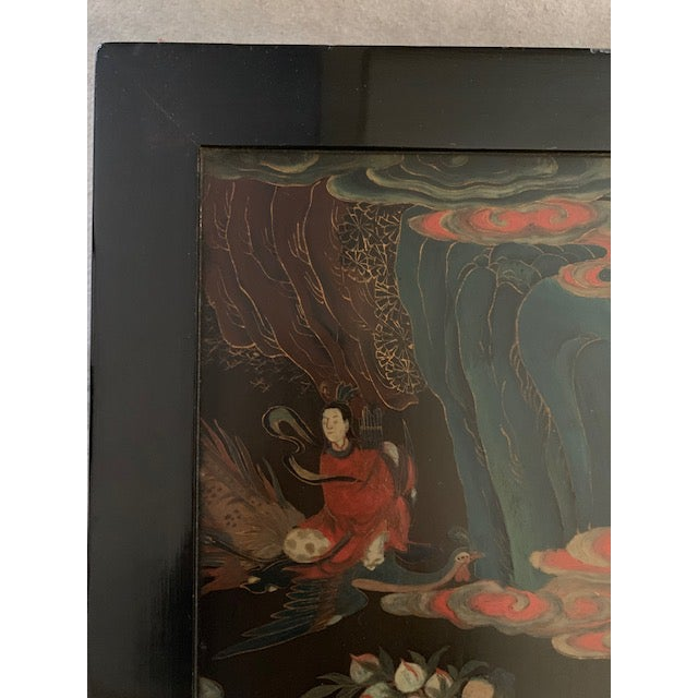 Wood 20th Century Asian Hand Painted Square Accent Table For Sale - Image 7 of 13