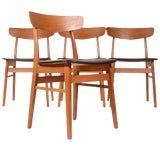 Image of Teak & Birch Danish Dining Chairs - Set of 4 For Sale