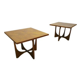 1960s Mid Century Modern Broyhill Brasilia Walnut Side Tables - a Pair For Sale
