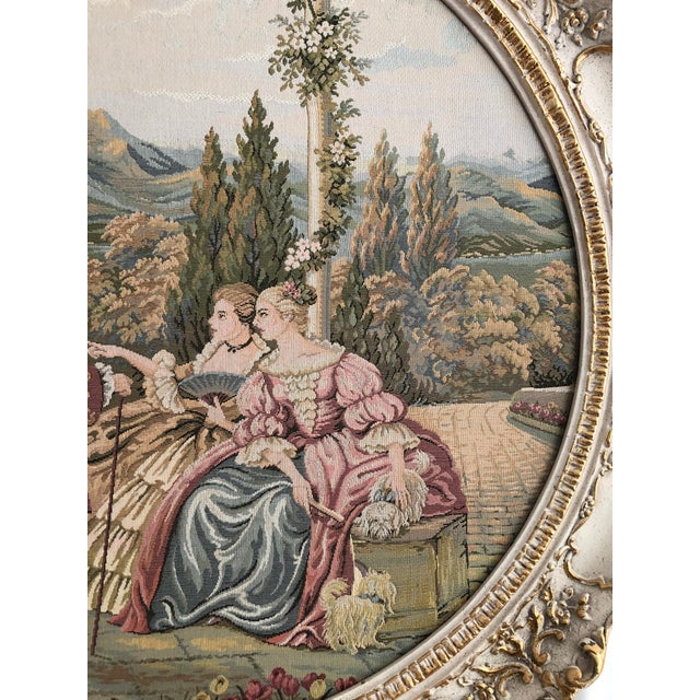"""20th Century Italian Capodimonte Style Large 35"""" Framed Wall Mount Tapestry For Sale In San Francisco - Image 6 of 11"""