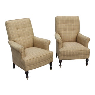 Traditional Club Chairs- A Pair For Sale