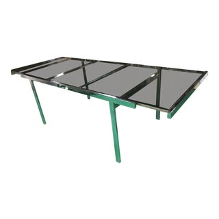 Milo Baughman Mid Century Chrome and Smoked Glass Dining Table For Sale