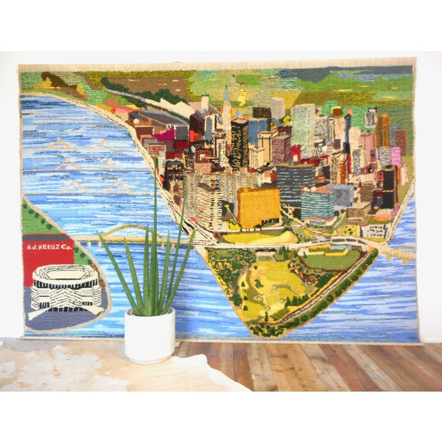 1960s vintage monumental wall hanging. Hand woven. Very textural, made of multiple yarns & fibres. Depicts a map like...
