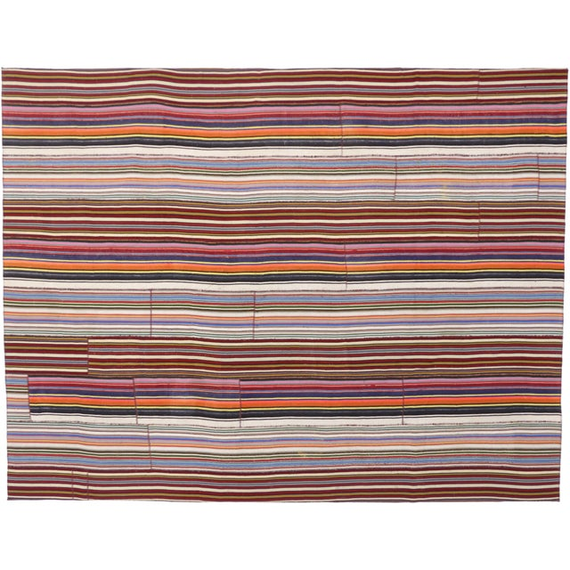 Modern Style Vintage Turkish Jajim Kilim Flat-Weave Rug With Colorful Stripes For Sale In Dallas - Image 6 of 6