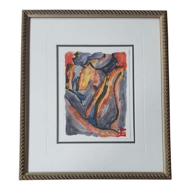 Abstract Female Nude Watercolor Painting - Image 1 of 3