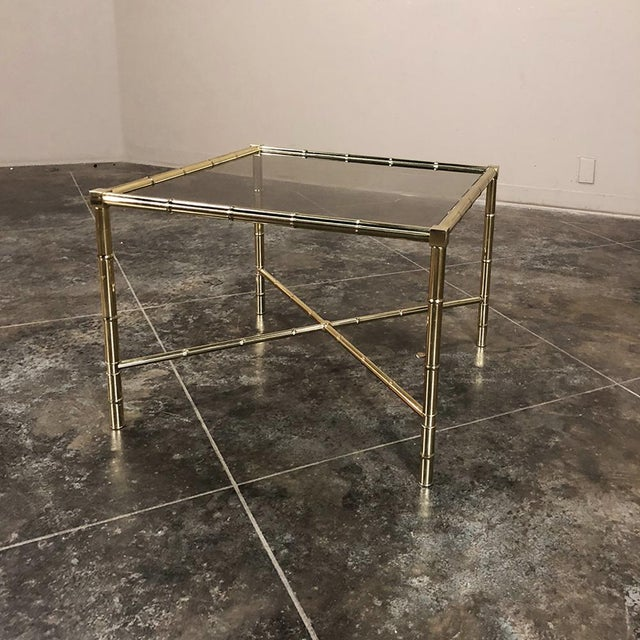 Mid Century Brass Smoked Glass Top End ~ Coffee Table For Sale - Image 4 of 12