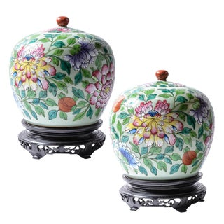 Kien-Ju Covered Jars- a Pair For Sale