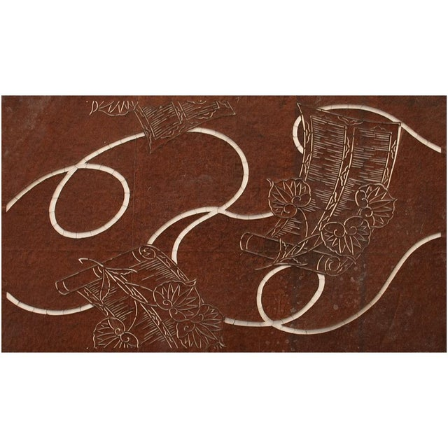 Exquisite Katagami Scrolls and Leaves stencil art work of Edo era, was designed for resist pattern dying on kimonos. It is...
